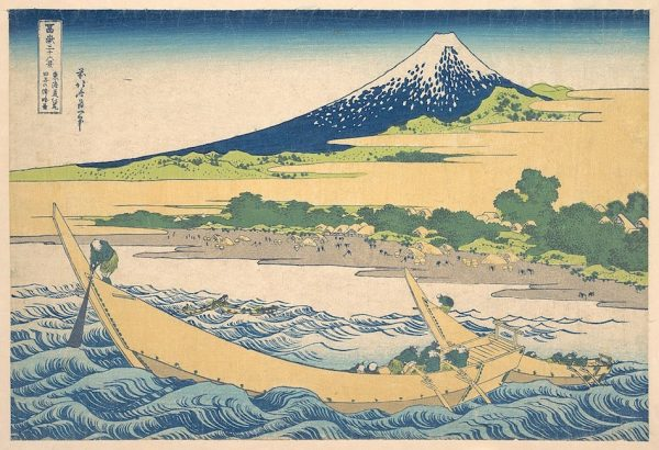 A print from the 36 views of Mount Fuji. The print is by Katsushika Hokusai and pictures Tago bay in times prior to modern civilisation. The bay is in the foreground with an old style Japanese row boat and animals on the beach with Mount Fuji in the background.