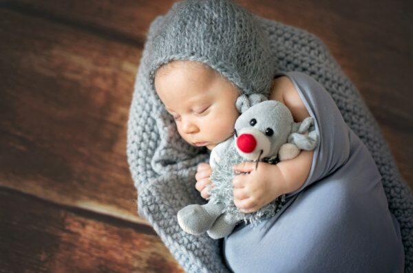 Little newborn baby boy sleeping in a bassinet holding a stuffed animal.