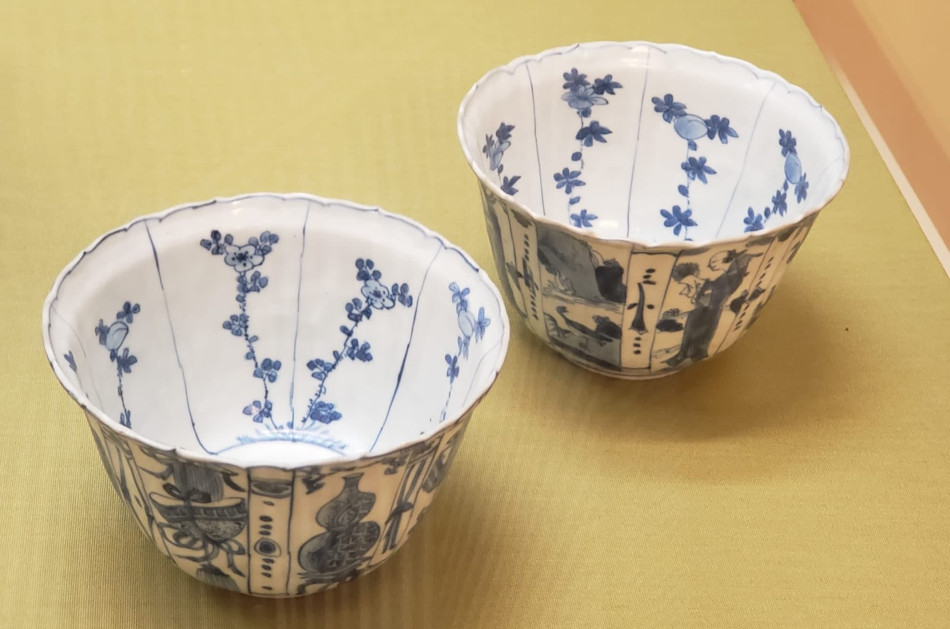 Porcelain tea cups with blue designs from the Ming Dynasty, on display at Hong Kong's Tea Museum.