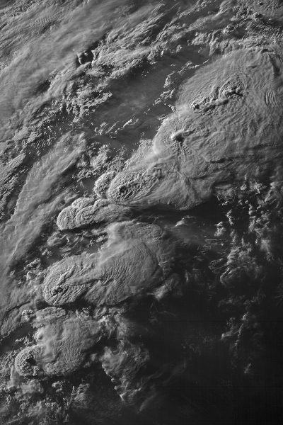 A string of supercell thunderstorms producing AACPs on May 27, 2021, over the Southern and Central Great Plains.