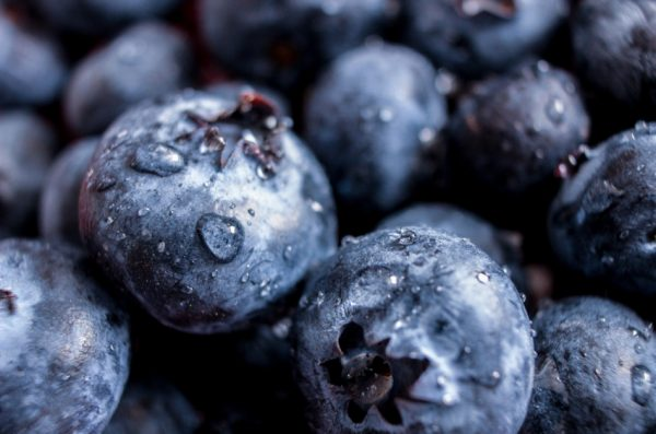 Blueberries with drops of water clinging to them.