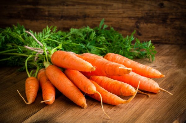 Rainbow eating includes carrots; orange carrots contain lycopene.