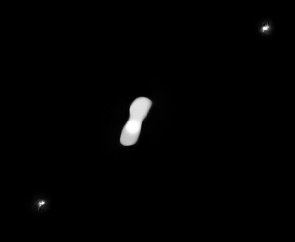 Image of Kleopatra, the dog-bone asteroid.