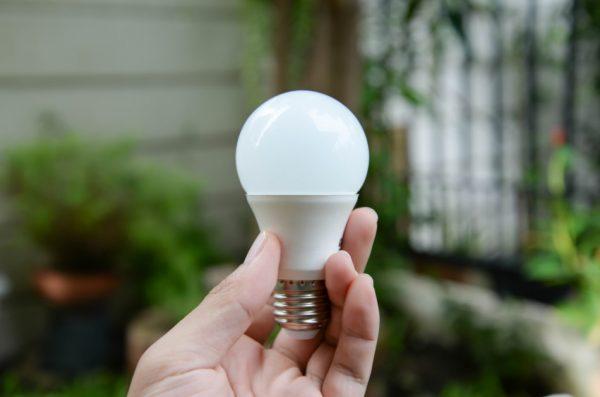 Closeup of a woman's hand holding an LED lightbulb outdoors.