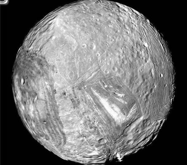Uranus' icy moon Miranda is seen in this image from NASA's Voyager 2 probe on Jan. 24, 1986.