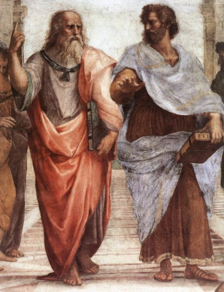 Plato and Aristotle from Raphael's 1509 fresco, The School of Athens.