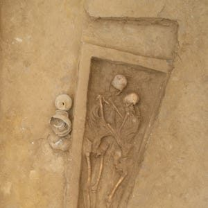 The skeletons were found holding each other with the woman having her head resting on the man's chest and the man leaning his head on the woman's head.