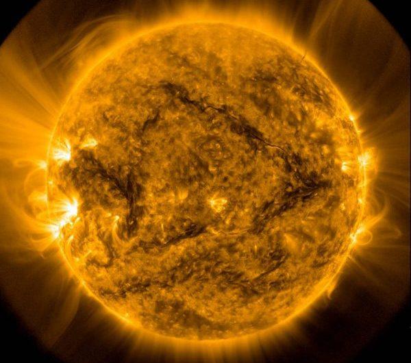 NASA image of the sun and its corona.