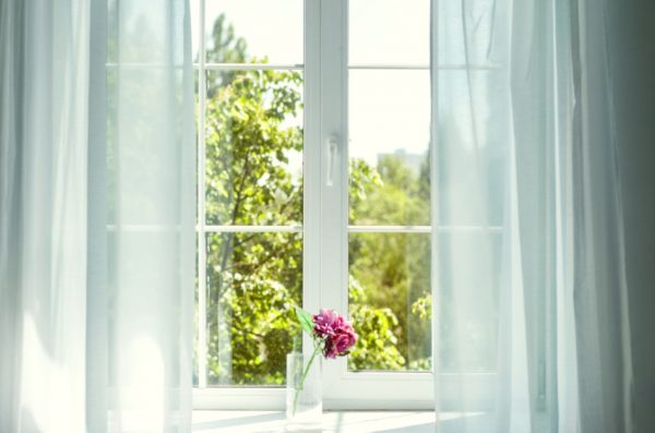 Window with curtains and flowers.