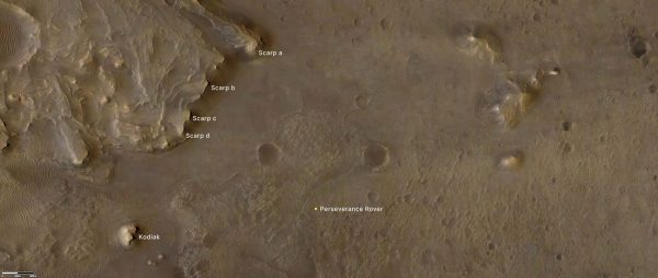 """The remnant of Jezero Crater's rover delta the science team refers to as """"Kodiak"""" is to the lower left."""