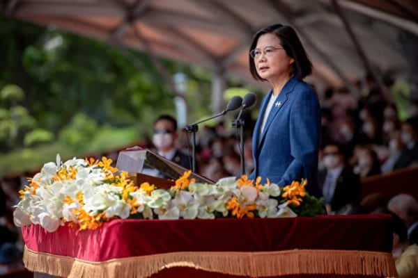 President Tsai Ing-wen gives her National Day Address on October 10, 2021.