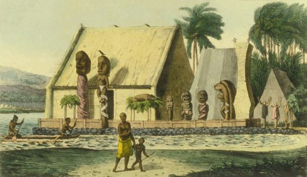 A painting of a traditional Hawaii temple with statues carved out of palm tree trunks. The temple is made out of Palm leaves and wooden. A rock fence and the beach is in the front of the picture with Hawaiian people dressed in traditional dress.
