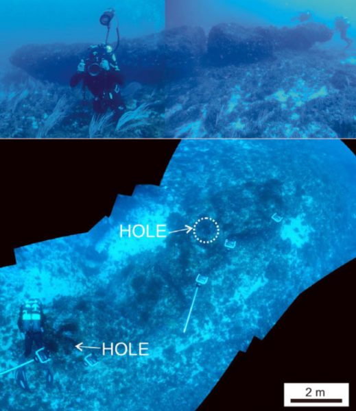 Underwater composite photographs taken from divers, showing the discovered submerged monolith and some details.