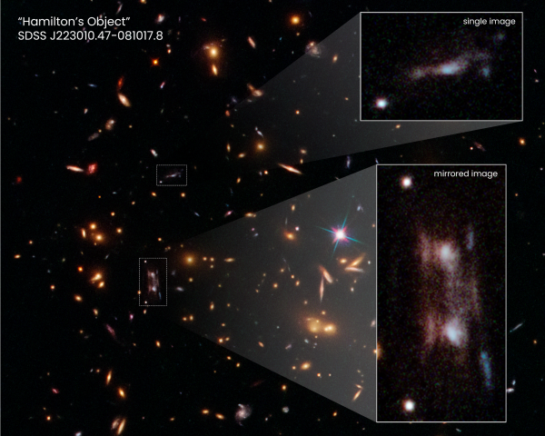 This Hubble Space Telescope snapshot shows three magnified images of a distant galaxy embedded in a cluster of galaxies. These images are produced by a trick of nature called gravitational lensing and produced the seeming double galaxy.